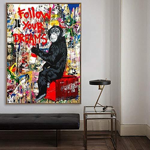 tzxdbh Astratto Segui i Tuoi Sogni Graffiti Street Pop Wall Art Quadri su Tela Poster e Stampe Immagini per Soggiorno Decorazioni per la casa Pittura e Calligrafia da 60x80 cm Senza Cornice 03