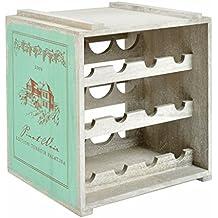 ts-ideen Mobile Porta Bottiglie Cantina Cantinetta Legno verde Vintage Retró Shabby