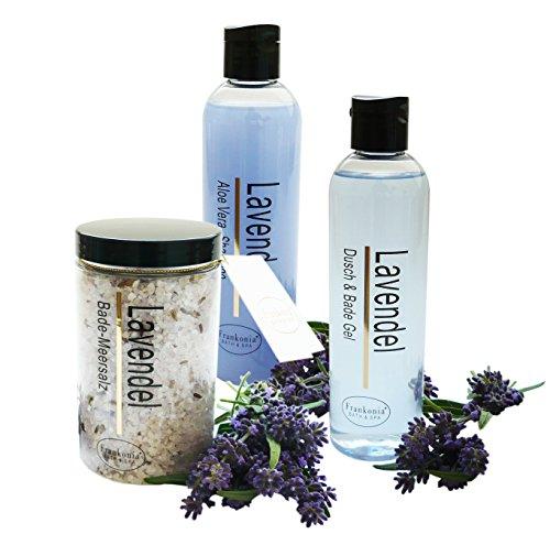 Pflegeset Damen Lavendel im 3er Set Duschgel & Badezusatz Shampoo 2 x 250 ml und Badesalz 450 g als Geschenkset