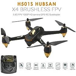 Koeoep H501S X4 Drone - Transmisor GPS de 4 canales (5,8 GHz, con cámara HD 1080P, cuadricóptero), Negro, 1