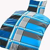 4 tlg Bettwäsche karo 135 x 200 cm grau blau Microfaser 2 Garnituren