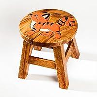 Robuster Kinderhocker/Kinderstuhl massiv aus Holz mit Tiermotiv Tiger,Katze, 25 cm Sitzhöhe preisvergleich bei kinderzimmerdekopreise.eu