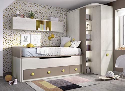 ambiato Jugendzimmer Jump 102 Bett mit Gästebett,Wandschrank,Kleiderschrank und Schreibtisch
