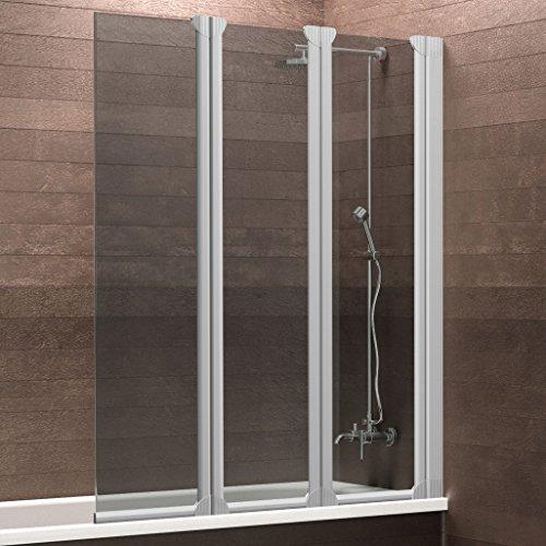 Schulte Badewannenaufsatz Duschabtrennung Badewanne Köln 3-teilig, 130x124 cm, Sicherheitsglas grau-anthrazit, Profile alu-natur