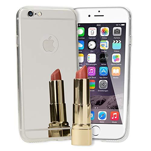 NALIA Spiegel Hülle kompatibel mit iPhone 6 6S, Ultra-Slim Mirror Case Cover Silikon Schutzhülle, Dünne Handyhülle Backcover verspiegelt, Handy-Tasche Bumper Skin Smart-Phone Etui, Farbe:Silber Spiegel Iphone