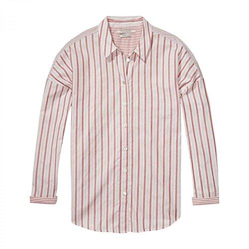 Maison Scotch Damen Hemd Relaxed Fit Button up Shirt 137429 Combo B L (Streifen Soda Hemd)