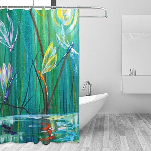 Mit Libellen Duschvorhänge (coosun Dancing mit Polyester-Libellen Duschvorhang Set-wasserabweisend Badezimmer Showe Vorhang Set Deko Home mit Haken, 72W X 72L Zoll)