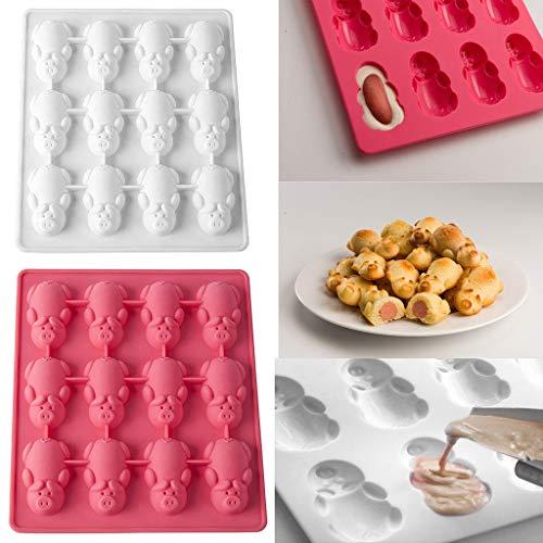 Gaddrt Kuchenform 1 / 2PC Multifunktions 12 Little Pig Silikon Kuchen Backen White & Pink Mold (A 2PC)