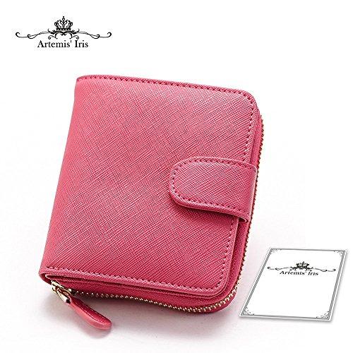 Artemis'Iris Donne Mini Compact piccolo raccoglitore Monete frizione Zipper denaro cambiare le schede dell'organizzatore del supporto della borsa del Corto, rosa rose