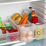 KURELLE 2 Bacs de Rangement Frigo et Congélateur Bacs Conteneurs Empilables pour Réfrigérateur Boîte Alimentaire pour Ranger Légumes Fruits Lait Fromages Bouteille de Vin,d'Eau et Soda, Transparentes