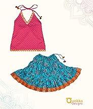 Indian Traditional Pink & Sky Blue Full Skirt Lehenga Choli - 1