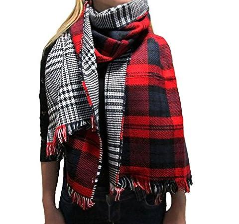 Damen Herbst Winter Schal XXL riesig 180 x 60 cm dick und extrem flauschig Baumwolle Poncho Scarf kariert Fransen