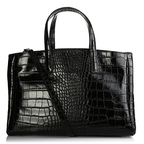 Olivia - Sac à Main Femme Cuir, Sac en Cuir façon Crocodile déclinent Le Chic So-Croco - Porte Main, Epaule 38X25X16 cm - Noir-F, Cuir