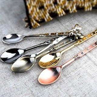 Aliciashouse Retro Heart-Shaped Mini Stainless Steel Tableware Teaspoons -silver
