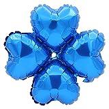 Hemore Deko-Ballon, 10 Sets – Luftballons mit vierblättrigem Kleeblatt, Herzform (Farbe: Blau) für Dekoration für Hochzeitstag/Party/Abend/Weihnachten