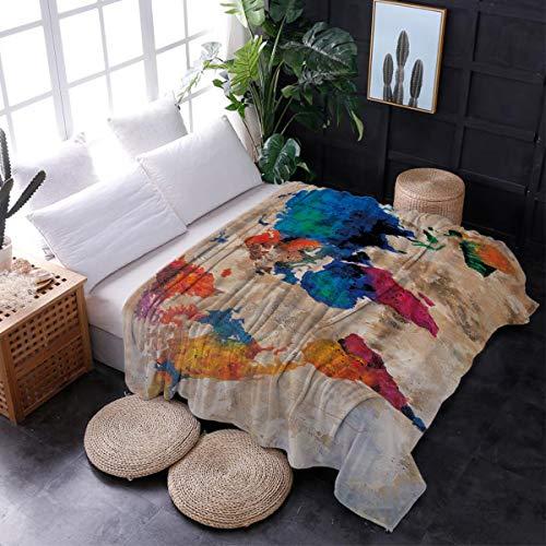 Mikrofaser-stuhl-bett (Interhear Flanell-Fleece-Überwurfdecke, superweich, leicht, kuschelig, Plüsch, Mikrofaser, luxuriöse Decken für Bett, Couch Stuhl, Wohnzimmer, Zwei Wölfe, Weiß/Grau 60