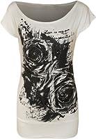 WearAll - Glitter graffiti rose fleur long t-shirt top avec manches courts - Hauts - Femmes - Tailles 36 à 42
