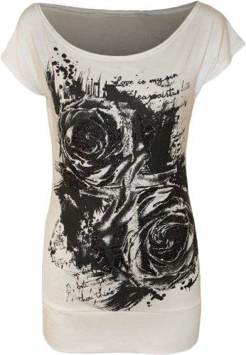 WearAll - Damen Glitter Graffiti Rose Blumen Kappenhülse Lang T-Shirt Top - Weiß - 40-42