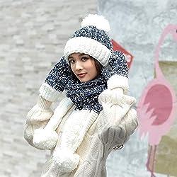 e37cf3a1267d 3PC Set Guanti e Sciarpa Cappello Invernali in Maglia Guanto da Donna in  Maglia