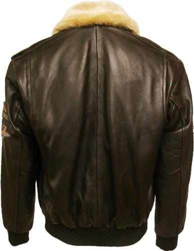 UNICORN Männer Echt Leder Jacke Pilot Haut Braun Größe 38 #N4