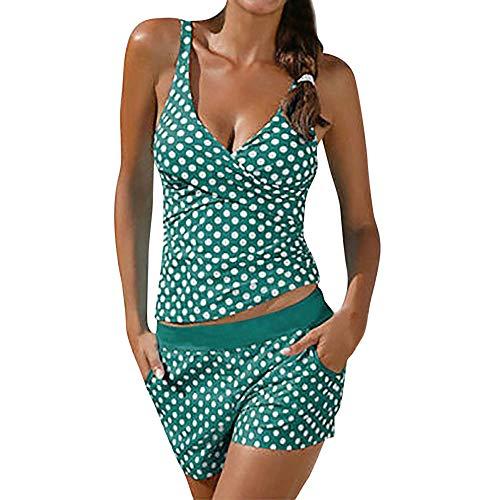 Lazzboy Frauen Tankini Badeanzug Bikini Beachwear Bademode Gepolstert Push Up Plus Damen übergröße Punktdruck Sets Gepolsterte(Grün,M)