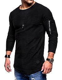 b547e45a9fc98 VEMOW Herbst Herren Casual Tops Langarm Zipper T-Shirt Volltonfarbe Täglich  Sport Training Neue Mode
