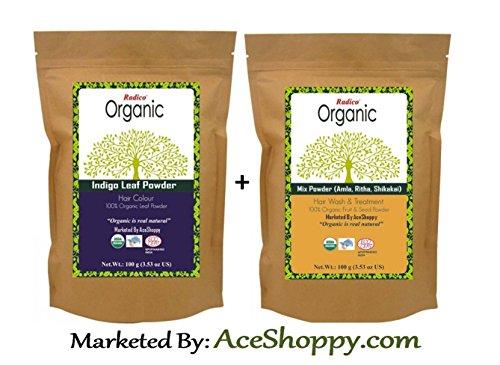 Radico Organic Indigo Leaf With Mixture of Amla Ritha Shikakai Powder  available at amazon for Rs.330