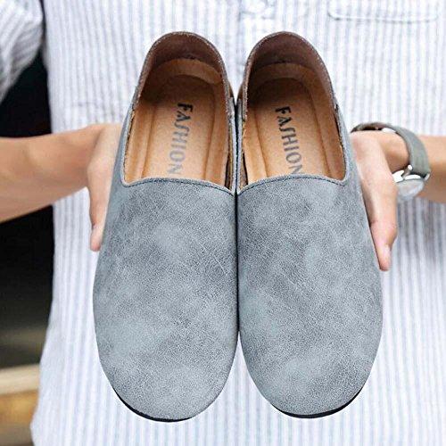 Pumpe Männer Leder Lässige Schuhe Schlüpfen Loafer Oxford England-Stil Farbübereinstimmung Atmungsaktiv Anti-Rutsch Lazy Schuhe Fahrschuhe Pedal Schuhe Eu Größe 38-46 Grey