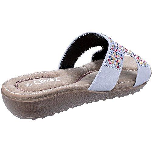 Divaz Damen Kiti Jewelled Flip Flops White