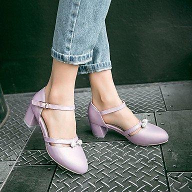 LvYuan Sandalen-Büro Kleid Lässig-Kunstleder-Blockabsatz-Komfort-Blau Lila Weiß Beige Purple