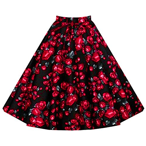 LAEMILIA Damen Vintage Retro Rock Blumendruck Print Mini Kleid Abendrock Faltenrock Skirt (EU M(Tag L), Blumen 1) -