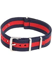 SODIAL(R) La correa ajustable de lona rojo azul real a rayas para piezas de reloj
