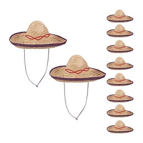 10er Set Sombrero Hut Stroh, Mexikohut, HxBxT: 18 x 44 x 48 cm, Strohhut geflochten, Kinnriemen, Mexiko Partyhut, beige