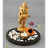 Tied Ribbons Golden Ganesha Playing Tabla Lord Ganesh Idol | Diwali Decorations Items For Home | Home Decorative Items