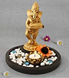 #6: TiedRibbons® Golden Ganesha playing Tabla Lord ganesh idol | diwali decorations items for home | home decorative items