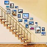 JLRQY Bilderrahmen Wand Set Treppen Collage Aus Holz Bilderrahmen Hängen Dekorative Gemälde Für Artwork Familie Flur Gang, Sets Von 19,A