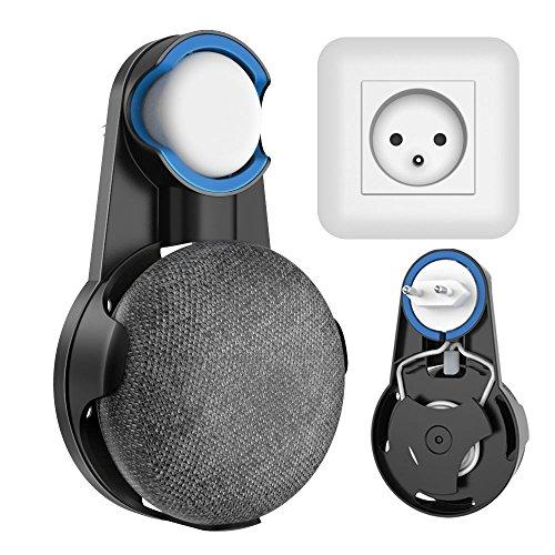 Wigoo Soporte de Montaje en Pared para Google Home Mini Asistentes de Voz, sin Cables o Tornillos distorsionados, Space Saver Hanger Plug en el baño y la Cocina del Dormitorio - Negro…