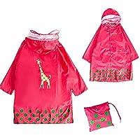 GIM Bambini Pioggia Cappotto Unisex Impermeabile Coprizaino Poncho Giacca Protezione con cappuccio per Ragazze & (Leggero Pioggia Poncho)