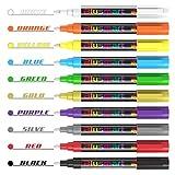 Kreidestift, Blusmart 10 Stück Kreidemarker farbig sortiert Löschbar Glas Fenster markier mit 40 Tafelaufkleber, Reversible Keilspitze 6mm, Kinderfreundlich