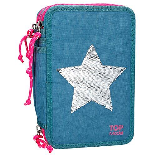 TOPModel 8906 3-fach Federtasche Streichpaillette Stern Blau