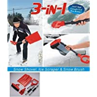 Good Ideas Collapsible 3 in 1 Snow Shovel with long handle + Snow Brush + Ice Scraper (993) Folds down for easy storage in your home or car