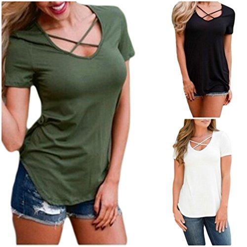 Smile YKK Damen Shirt T-Shirt/Oberteil/Top Shirts V-Ausschnitt Mit