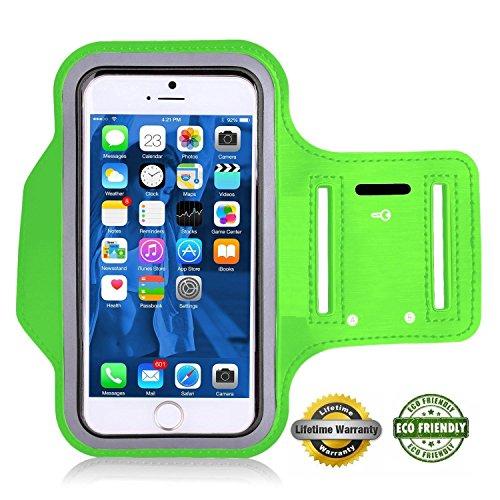 Preisvergleich Produktbild Act Wasserfestes Sport-Armband -LEBENSLANGE GEWÄHRLEISTUNG - Mit Schlüsselhalter, Kabelfach, Kartenhalter für iPhone 7/6/6S,Galaxy S6/S5/S4,iPhone 5/5C/5S bis 5.1 Inch (Grün 5 / 5c / 5s)