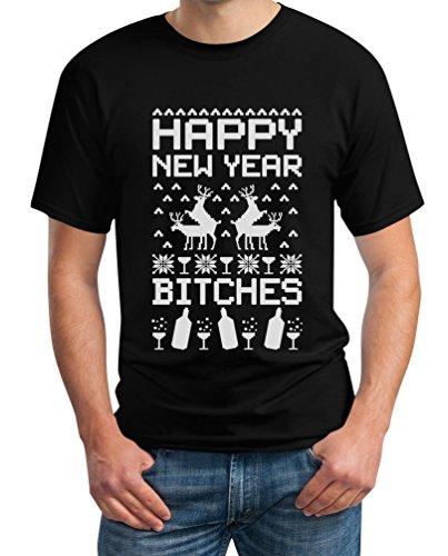 Happy New Year Bitches - Cooles Outfit für das Neue Jahr T-Shirt Schwarz