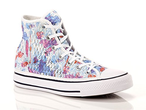 Converse, Donna, Chuck Taylor All Star Hi Tiny Crochet Print Flower, Tela, Sneakers Alte, Blu, 37 EU