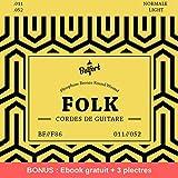 Cordes de première qualité pour guitare folk & guitare acoustique ♫ BONUS : Ebook gratuit + 3 plectres ♫ Corde en Phosphor Bronze (lot de 6 cordes)