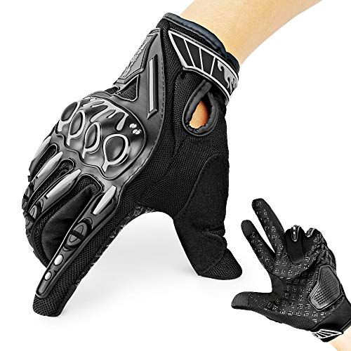 Motorrad Handschuhe mit Harten Knöchel Finger Touchscreen für Motorrad Outdoor Camping schwarz L Finger-touch Screen