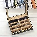 Krokodil-Kunstleder Box Unionplus 8Einschübe für Sonnenbrillen oder Brillen, Display Aufbewahrung, Organizer Sammelbox Schwarz / Kroko-Design