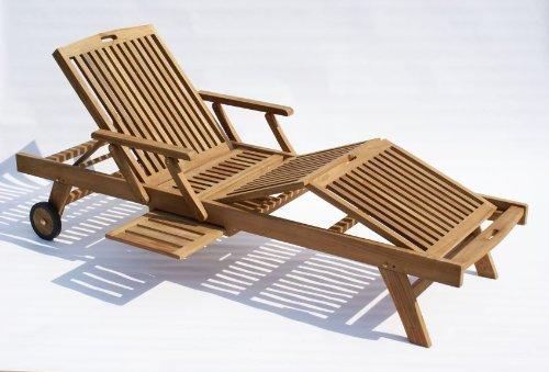 Baltico 2er Set Teak-Holz Sonnenliege Gartenliege Holzliege, behandelt, mehrfach verstellbar, seitliches Tablett, verstellbare Armlehnen, inkl. Auflage 11-TLG. in Creme wasserabweisend, Räder