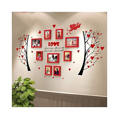 AJZGF Mur de Photo, Mur de Cadre Photo, Cadre Photo Moderne Collage Bois Massif Rouge/Rose Installation Murale Facile (Couleur : Rouge)